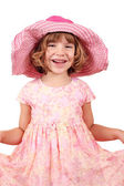 Happy little girl with big hat posing — Stock Photo