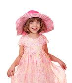 Liten flicka med stor hatt — Stockfoto