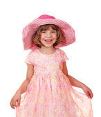 Little girl with big hat — Foto de Stock