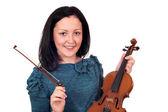 Beautiful teenage girl with violin — Stock Photo