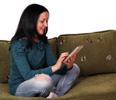 Teenage girl fun with tablet pc — Stock Photo