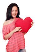 少女握着大红色的心 — 图库照片