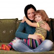 Stock Photo: Teenage and little girl sisters