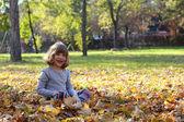 Happy little girl in autumn park — Stock Photo