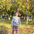 Little girl walking in autumn park — Stock Photo