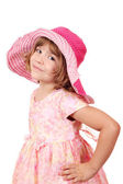 Beautiful little girl with big hat — Stock Photo