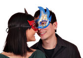 Happy girl and boy with mask — Stock Photo