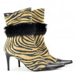 Women boot with tiger stripes on white — Stock Photo