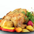 Grilled chicken with potatoes on white — Zdjęcie stockowe