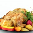 Grilled chicken with potatoes on white — Stok fotoğraf