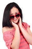 Beautiful teenage girl with sunglasses portrait — Stock Photo