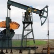 Oil worker and pump jack - Stock Photo