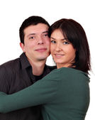 Guy and girl couple portrait on white — Stock Photo