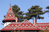 Castle colorful tiles roof architecture detail — Stock Photo