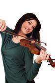 Belle fille jouer de la musique au violon — Photo