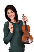 小提琴在白色的漂亮女孩 — 图库照片