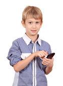 Boy dials on the smart phone — Fotografia Stock