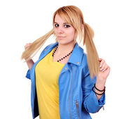 Beautiful teenage girl with pigtail portrait — Stock Photo
