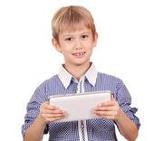 Happy boy with tablet pc portrait — Stock Photo