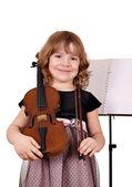 Vacker liten flicka med violin porträtt på vit — Stockfoto