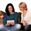 Family three generation play with tablet pc — Stok fotoğraf