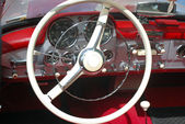 Vintage car steeling wheel and dashboard — Stock Photo