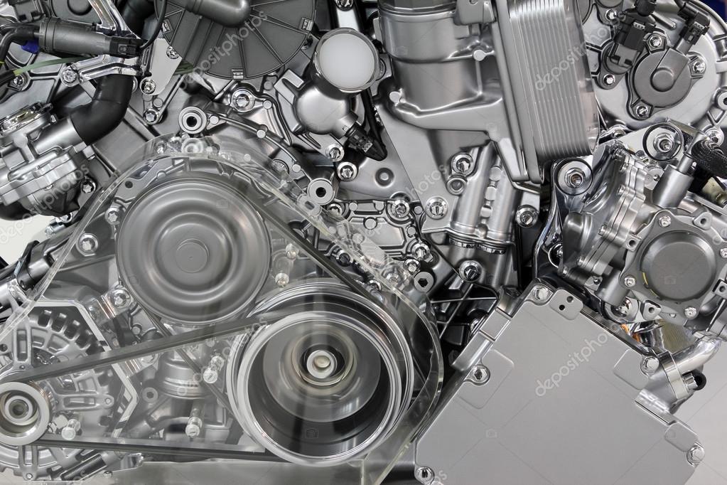 汽车发动机皮带和齿轮详细信息 - 图库图片