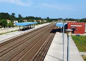Railway station in Nei Pori Greece — Stock Photo