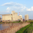 Industry zone on river bank — Stock Photo