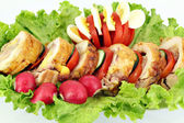 Stuffed chicken meat with salad — Stock Photo