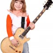 Little girl rocker with electric guitar — Stock Photo