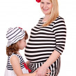 Little girl kissing belly of pregnant mother — Stock Photo