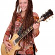 Happy girl with dreadlocks play electric guitar — Stock Photo #26306717