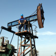 Strong oil worker standing on pump jack — Stock Photo #26351311
