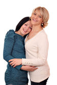 Glückliche Mutter und Tochter auf weiß — Stockfoto