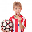 Boy with gold medal and soccer ball — Stock Photo #26709653
