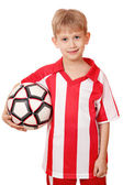 Boy hold soccer ball on white background — Stock Photo