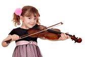Beautiful little girl play violin on white — Stock Photo