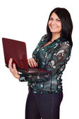 Beautiful happy girl with laptop — Stock Photo