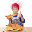 Happy boy chef with pizza and thumb up — Stock Photo