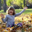 Happy little girl in autumn park — Stok fotoğraf