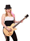 Happy girl with electric guitar on white — Stock Photo