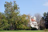 Park with white castle landscape — Stock Photo