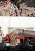 Community heating system construction site — Stockfoto