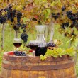 Red wine on old wooden barrel — Stock Photo