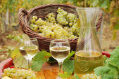 White wine and grape close up — Stockfoto