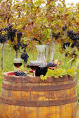 Red wine on old wooden barrel — Stockfoto