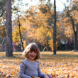 Beautiful little girl sitting on autumn leaves — Stock Photo