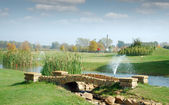 Golf course with little stone bridge — Stockfoto