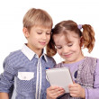 Children play with tablet pc — Stock Photo
